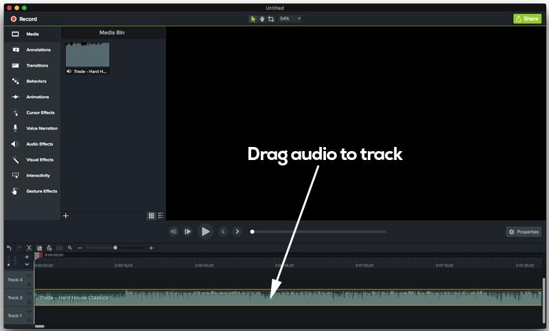 Drag audio mix to track